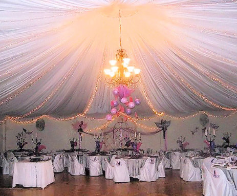 draped ceiling reception hall
